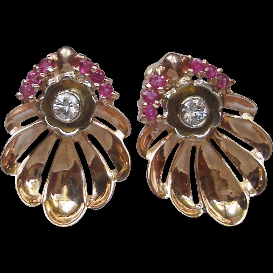 Clam Shape 14k Rose Gold Retro Earrings w. Diamonds & Rubies