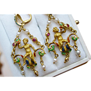 18k Gold Enamel Earrings with Cherubs & Precious Stones Renaissance Revival Style