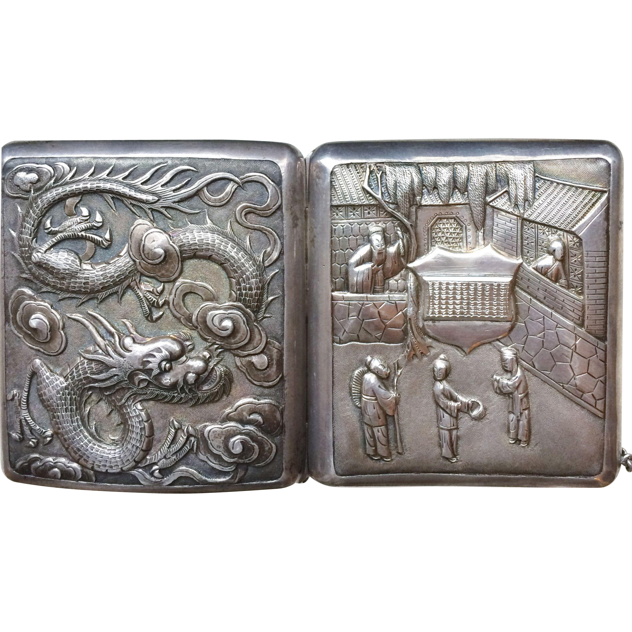 Antique Chinese Export Silver Card Case Wang Hing