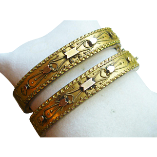 Antique Victorian Etruscan Wedding Bangle Bracelets, Matching Pair, circa 1875