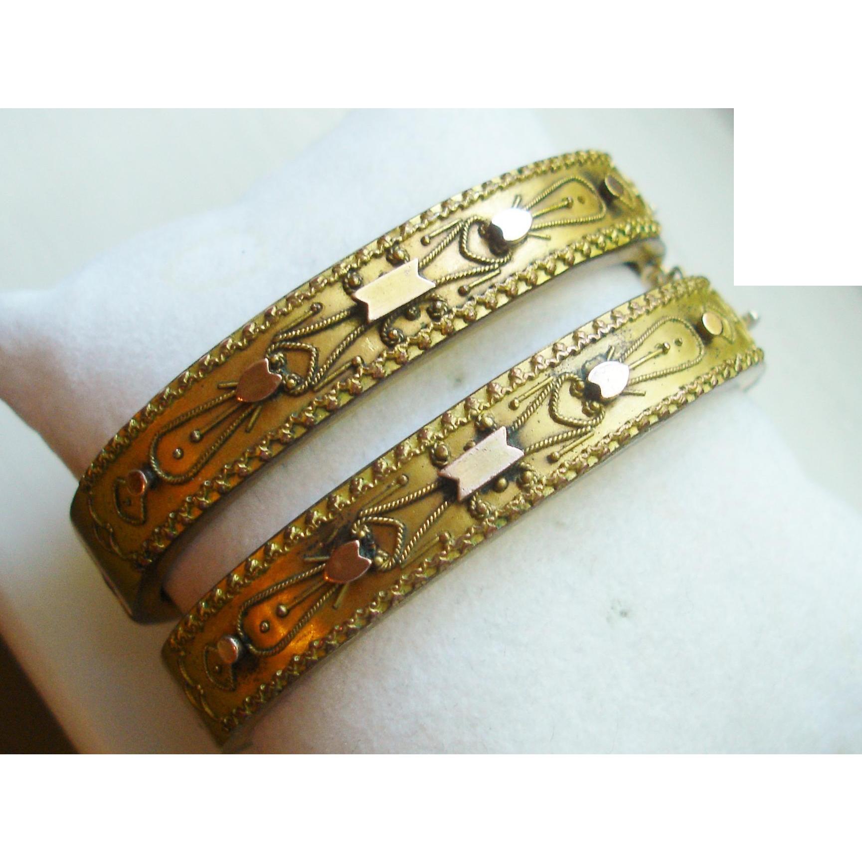 Antique Victorian Etruscan Wedding Bangle Bracelets, Matching Pair, circa 1875