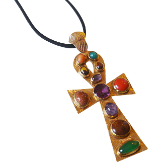 A Modernist 14k Yellow Gold and Multi Gem Ankh Pendant