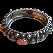 Vintage Moroccan Berber Silver & Coral  Hinged Bangle Bracelet
