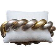 Sterling Silver Tri-Color San Marco / Macaroni Bracelet 8 inches