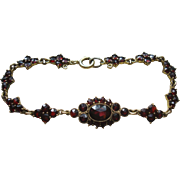 Beautiful Gold Filled Bohemian Rose Cut Garnet Bracelet