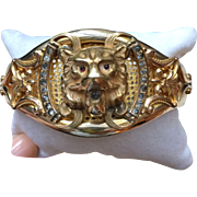 Victorian Lion's Head Bracelet with Paste, circa 1910, JJ Sommer Co.