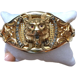 Victorian Lion's Head Bracelet with Paste, circa 1880, JJ Sommer Co.