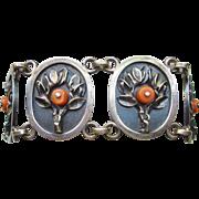 Mid Century Sterling & Coral Bracelet Poland Hallmarks
