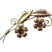 Van Dell Gold Fill on Sterling Silver Retro Floral Brooch~Pin