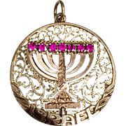 Vintage Double Sided Menorah Spinner Charm in 14k Gold