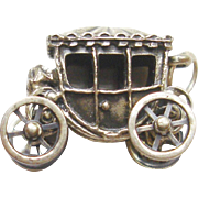 Very Fine Sterling Silver Charm of a Royal Coach, Movable Wheels Signed