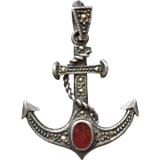 Vintage Sterling Silver, Marcasite, Carnelian Anchor Charm Pendant