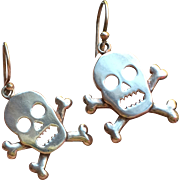 Vintage Skull Crossbones Sterling Silver Earrings, c. 1960's