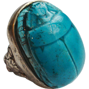 Huge Vintage Faience Scarab Egyptian Amulet Ring in Sterling Silver