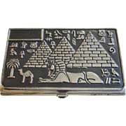 Vintage 900 Silver Egyptian Card Holder Business Case