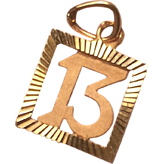 Petite 18k Gold Lucky 13 Charm French Hallmarks
