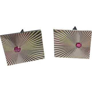Mid Century 14k White Gold and Ruby Cufflinks