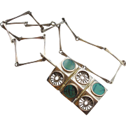 Mid Century Sterling Silver & Turquoise Necklace (Scandinavian)