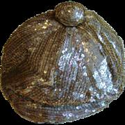 French Art Deco Gold Sequin Flapper Cloche Hat 1920's