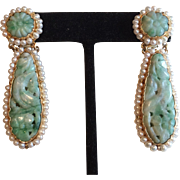 Gorgeous Vintage 18k Gold Carved Jade Earrings with Pearls