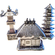 Trio of Japanese Silver Figural Salt/Pepper Shakers