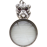 Sterling Silver English Bull Dog Garnet Eyes Magnifying Glass Pendant