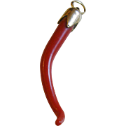 Branch Coral & 18k Gold Italian Cornicello Horn Charm Amulet