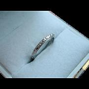 Art Deco 18k White Gold Belais Wedding Band Stacking Ring