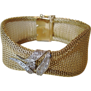 Stunning 18k Gold Soft Mesh Bracelet with Diamond Detail