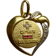 A Sweet French 18k Gold Love Token Qu'Hier Que Demain, Original Box