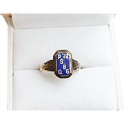Fantastic Date Ring 14k Gold Enamel 1922 NYC PS.89