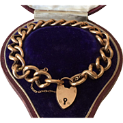 Antique English Rose Gold Heart Padlock Curb Bracelet in Original Box, circa 1890's