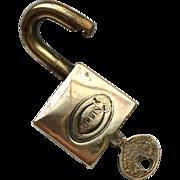 Antique Corbin Padlock with Original Key