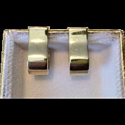 Vintage 14K Yellow Gold Earrings Unusual Huggies
