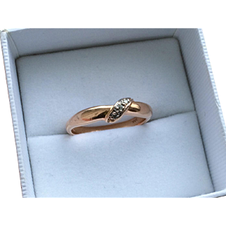 Vintage 14k Rose Gold and Diamond Band