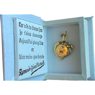French 18k Gold Love Token Qu'Hier Que Demain, Original Box