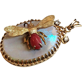 Gorgeous 14/18K Gold Opal Diamond Pendant with Coral Bee, Italy