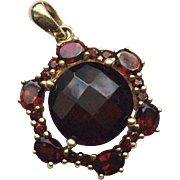 Estate Rose Cut Garnet 10K Gold Pendant