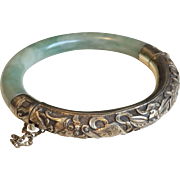 Vintage Chinese Repousse Silver & Jade Bangle Bracelet