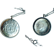 1942 Sterling Silver Australian Coin Pendant, Charm, Fob