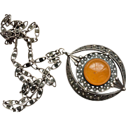 Vintage Russian Silver & Baltic Amber Pendant/Necklace