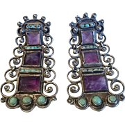 Matl Matilde Poulat Mexican Silver Jeweled Earrings, circa 1950