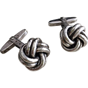 Solid Sterling Silver Knot Cuff Links Designer Hallmarks