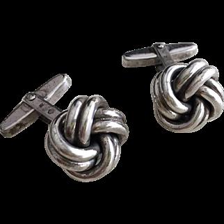 Solid Sterling Silver Knot Cuff Links Designer Hallmarks