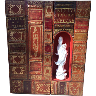 Rare French Leather Book Box with Blanc de Chine Figure of Guanyin