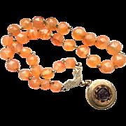 Victorian Carnelian Bead Necklace with Intaglio Locket