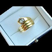 Rare! Victorian 18k Gold English Snake Ring w/ Rose Cut Diamond John Tongue