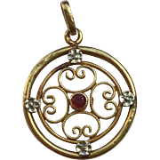 Edwardian 18k Gold  Pendant Charm with Ruby, circa 1905
