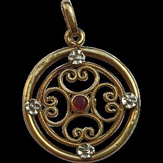 Edwardian 18k Gold  Pendant Charm with Ruby, circa 1905