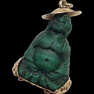18k Gold and Malachite Buddha Charm